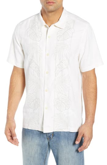 Tommy Bahama Oceangrove Vines Classic Fit Embroidered Silk Camp Shirt