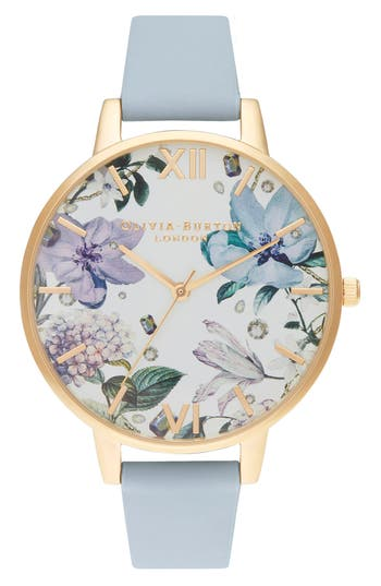 Olivia Burton Bejeweled Floral Leather Strap Watch, 38mm