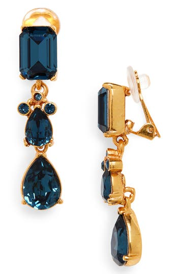 Oscar de la Renta Small Classic Crystal Drop Earrings