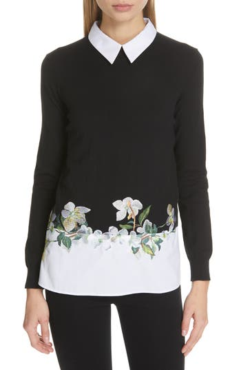 Ted Baker London Floral Embroidered Layered Sweater