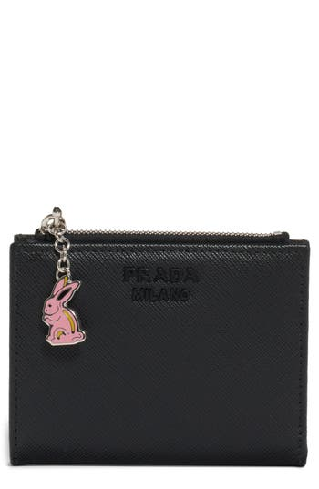 Prada Calfskin Leather Wallet with Charm