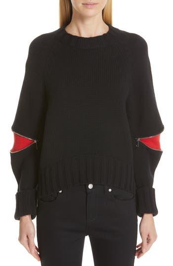 Alexander McQueen Bicolor Cutout Zip Sweater