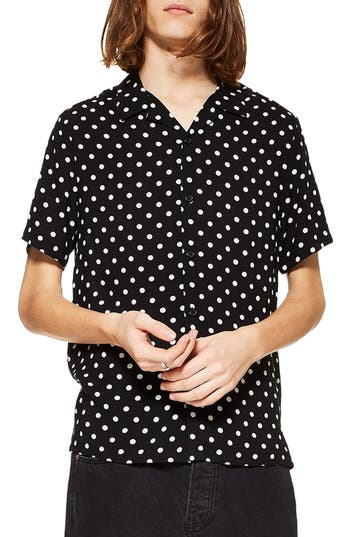 Topman Polka Dot Camp Shirt