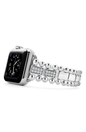 LAGOS Smart Caviar Sterling Silver Link Band with Diamonds for Apple Watch®