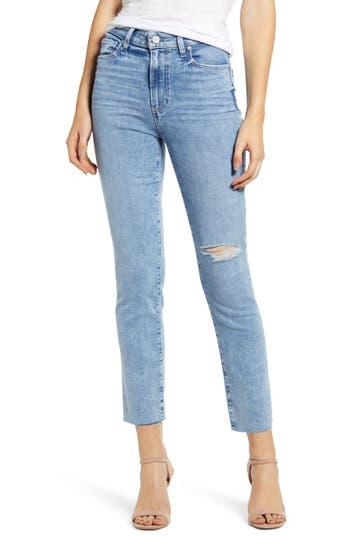 PAIGE Hoxton High Waist Raw Hem Ankle Slim Jeans (Aloha Destructed)