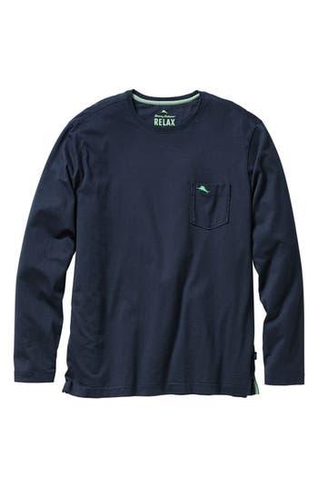 Big & Tall Tommy Bahama Bali Skyline Long Sleeve Pima Cotton T-Shirt - Blue