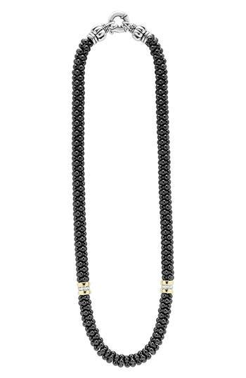 Women's Lagos 'Black Caviar' 7Mm Beaded Diamond Station Necklace