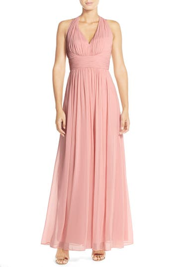 Dessy Collection Ruched Chiffon V-Neck Halter Gown, Pink