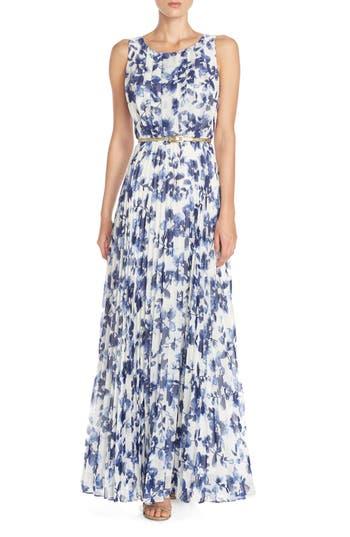 Eliza J Floral Pleat Chiffon Maxi Dress