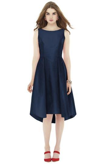 Alfred Sung Bow Back Dupioni Fit & Flare Midi Dress, Blue