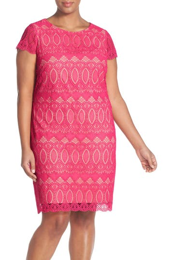 Plus Size Eliza J Cap Sleeve Lace Shift Dress, Pink