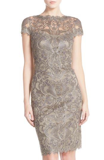 Tadashi Shoji Illusion Yoke Lace Sheath Dress, Metallic