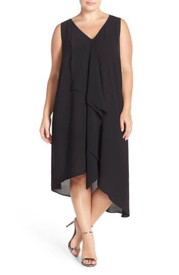 Plus Size Adrianna Papell Sleeveless Asymmetrical Front Drape Crepe Shift Dress