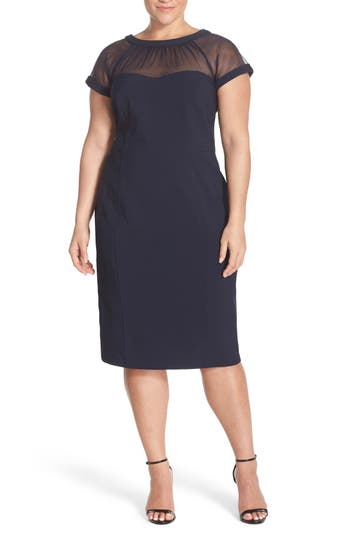 Plus Size Maggy London Illusion Yoke Crepe Sheath Dress, Blue