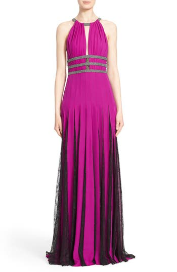 Badgley Mischka Couture Silk Halter Gown With Lace Pleats