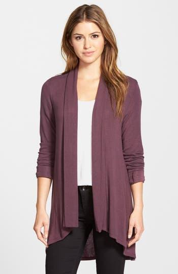 Women's Bobeau High/low Jersey Cardigan, Size Small - Burgundy