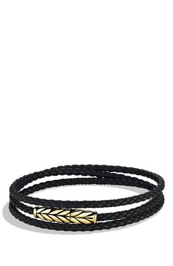 David Yurman 'Chevron' Triple-Wrap Bracelet in Black Leather and Gold