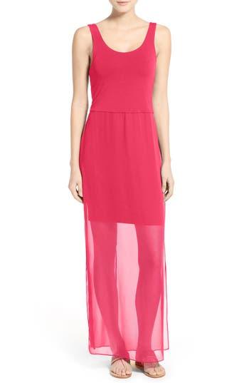 Petite Vince Camuto Chiffon Overlay Tank Dress, Pink