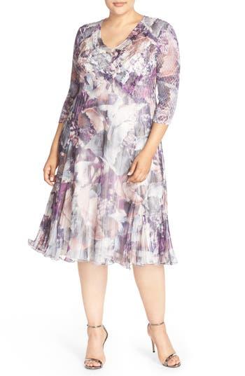 Plus Size Komarov Floral Chameuse & Chiffon V-Neck Dress