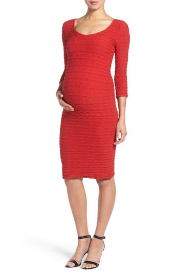 Tees By Tina Crinkle Maternity Sheath Dress, Size One Size - Red
