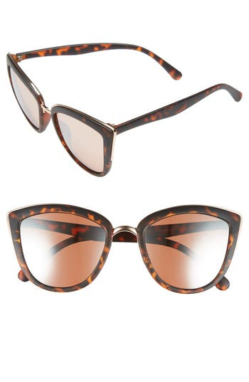 Junior Women's Bp. 55Mm Metal Rim Cat Eye Sunglasses - Rose Gold/ Tort