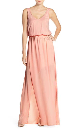 Show Me Your Mumu Kendall Soft V-Back A-Line Gown, Pink