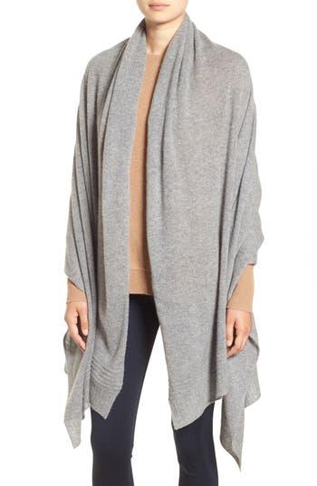 Women's Halogen Ottoman Rib Cashmere Wrap, Size One Size - Grey