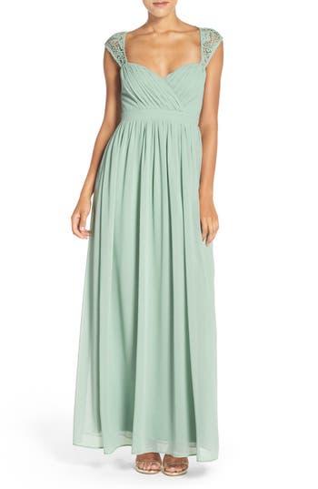 Women's Lulus Lace Shoulder Sleeveless Chiffon Gown