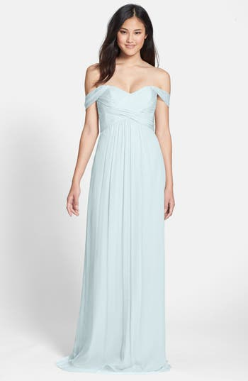 Amsale Convertible Crinkled Silk Chiffon Gown, Blue