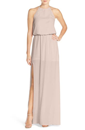 Show Me Your Mumu Heather Chiffon Halter Gown, Beige