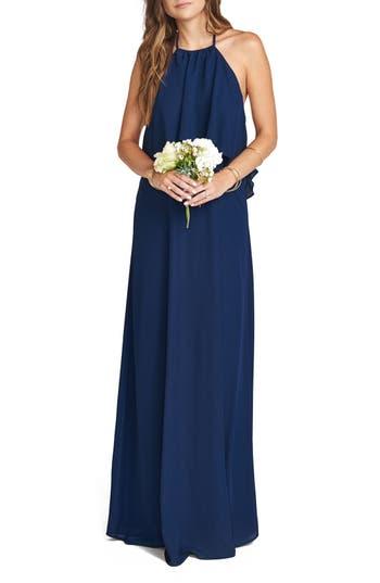 Women's Show Me Your Mumu Aimee Ruffle Bodice Chiffon Halter Gown, Size Small - Blue