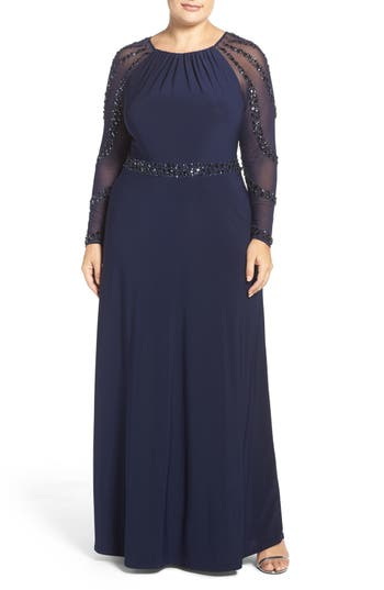 Plus Size Marina Beaded A-Line Jersey Gown, Blue