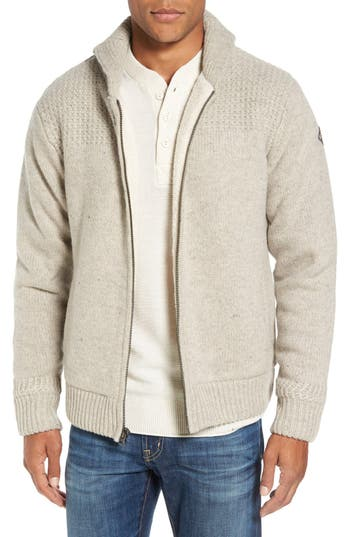 Schott Nyc Lined Wool Zip Sweater, Brown