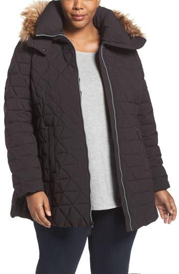 Plus Size Andrew Marc Down Jacket With Faux Fur Trim Hood, Black