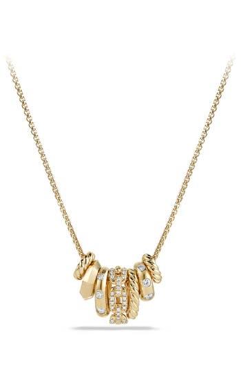 Women's David Yurman 'Stax' Pendant Necklace With Diamonds In 18K Gold