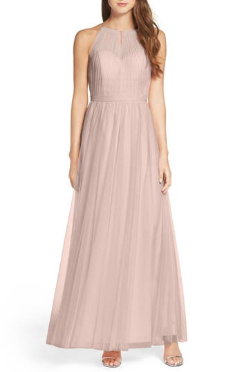 Wtoo Tulle Halter Neck Gown, Brown