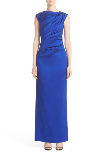 Talbot Runhof Bateau Neck Stretch Satin Column Gown, Blue