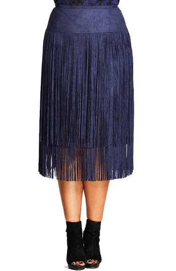 Plus Size Women's City Chic Woodstock Tiered Fringe Faux Suede Skirt