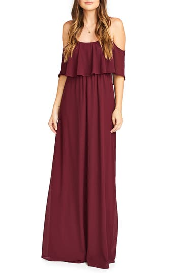 Show Me Your Mumu Caitlin Cold Shoulder Chiffon Gown, Red