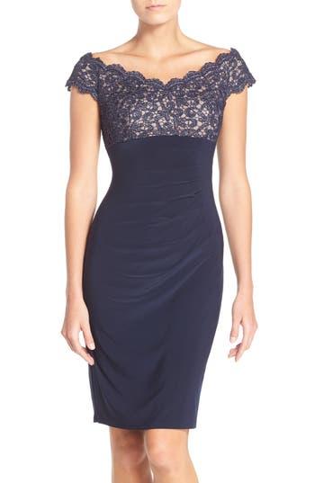 Petite Xscape Lace & Jersey Off The Shoulder Sheath Dress
