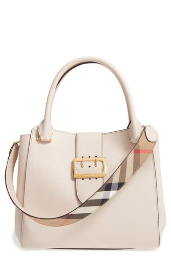 Burberry Medium Buckle Leather Satchel - White at NORDSTROM.com