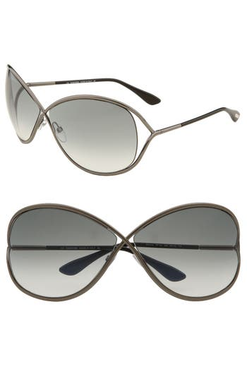 Tom Ford Miranda Open Temple Oversize Metal Sunglasses - Shiny Gunmetal