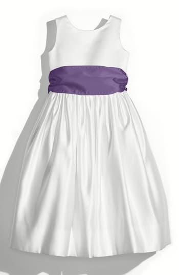 Girls Us Angels White Tank Dress With Satin Sash Size 8  Purple