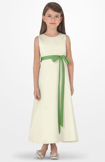Girls Us Angels Sleeveless Satin Dress Size 6X  Green