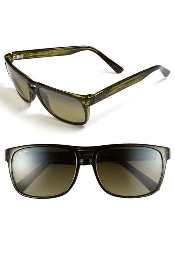 Men's Maui Jim 'Waterways - Polarizedplus2' 58Mm Sunglasses - Olive Stripe