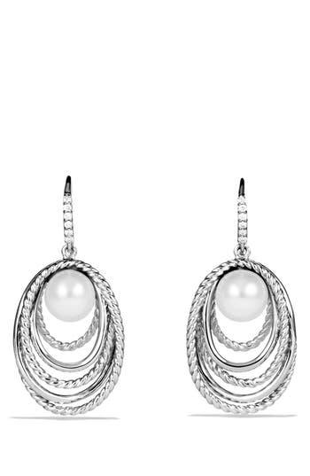 Women's David Yurman 'Crossover' Pearl Drop Earrings With Diamonds