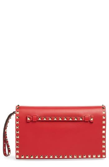Valentino 'Rockstud' Nappa Leather Flap Clutch -