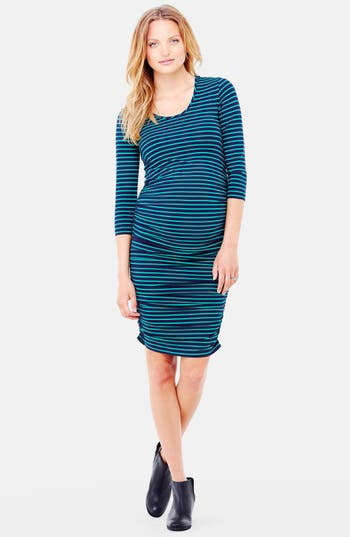 Ingrid & Isabel Shirred Maternity Dress, Blue