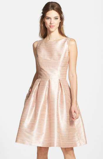 Alfred Sung Dupioni Fit & Flare Dress, Pink