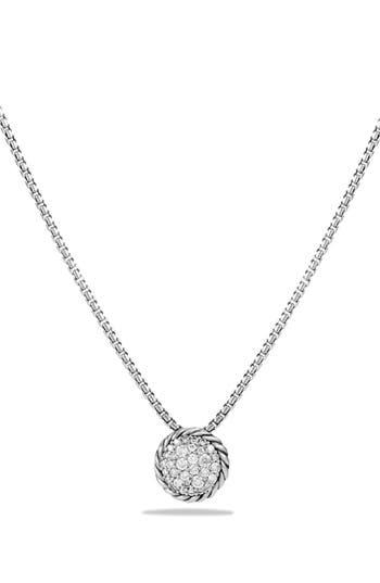 Women's David Yurman 'Châtelaine' Pavé Pendant Necklace With Black Diamonds